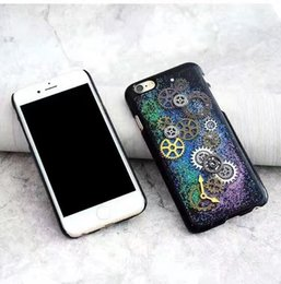 Wholesale Iphone Gear Case - Alloy Gear Case For Iphone 7 6s 6 Plus SE 5s 5 Creative Starry Sky Time Clock Hard PC Back Cover OPP BAG