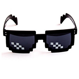 Wholesale Toy Men Black Glasses - Designer Mosaic Sunglasses Men Brand Vintage Unisex Novelty Pixel Sunglasses Party Cosplay Photo Prop big boss Toy Glasses for birthday gift