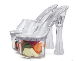 Wholesale Thick Platform Flip Flops - 18cm Super High Platform Floral transparant crystal thick heel slipper shoes wedding party