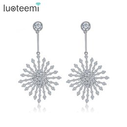Wholesale Rhombus Earrings - Ethnic Vintage AAA Cubic Zirconia Dangling Earring White Gold-Color Rhombus Jewelry Tiny CZ Stone Rainwater Drop Brincos For Women LUOTEEMI