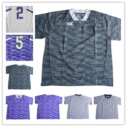 Wholesale Frog Custom - Mens TCU Horned Frogs Custom College Football Limited Jerseys #2 #5 Gray Purple White Stitched Personalized Any Name Number Jerseys S-3XL
