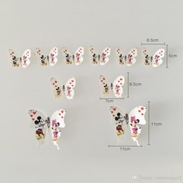 Wholesale Minnie Wallpaper - 10 PCS lot Mickey Minnie mouse Lover Decorative 3 d Adhensive Butterfly Wall becomes the for kids room Decors home decoration GYH