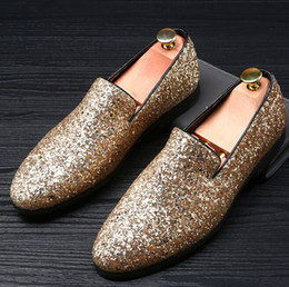 Wholesale Italian Office Shoes - New Men Shoes luxury Brand Sparkling sequins Leather Casual Driving Oxfords Shoes Men Loafers Moccasins Italian Dress shoes Men size 38-48