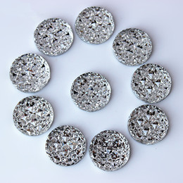 Wholesale 16mm Round Beads - 200PCS 16mm Round Rhinestones Resin Crystal Flat Back Circle Beads Accessories Free shipping ZZ582C