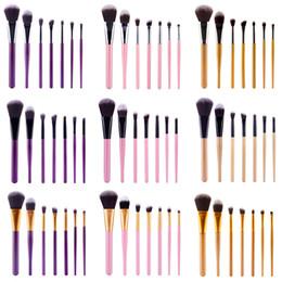 Wholesale Kit Brushes Set Aluminum - No Logo Hotselling Factory Price 7pcs Professional Makeup brushes kit Aluminum Ferrule Wood Handle Synthetic Bristle Cosmetics MakeupTool