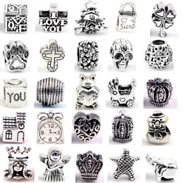 Wholesale Beads Making Designs - Silver Beads Charms for Bracelets 30 Designs DIY Jewlery Making European Big Hole Loose Beads Styles Bulk
