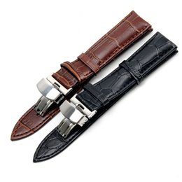 Wholesale Watch Leather Strap 19mm - 19mm For PRC200 T17 T41 T461 High Quality Silver Butterfly Buckle + Brown   Black Genuine Leather Watch Bands Strap