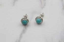Wholesale Luxury Earings - Authentic 925 sterling silver earrings for women luxury jewelry fashion earings luxury Turquoise earrings fit pandora