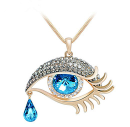 Wholesale Crystal Eye Necklace - Classic Angel Tears Eyes Charms Necklaces Women Blue Crystal Pendant Necklace Women Long Necklaces Glass Jewelry Gift 12PCS