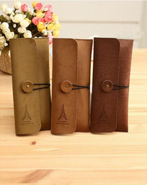 Wholesale Eiffel Tower Pens - Wholesale-1PC Vintage Elegant Paris Eiffel Tower PU Leather Pen Bags Multi-function Pencil Cases Cute Stationery Office School Supplies