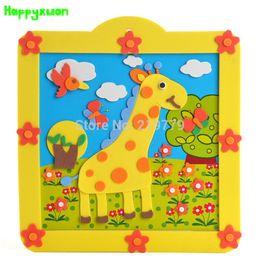 Wholesale Handmade 3d Stickers - Happyxuan 4pcs lot Kids DIY handmade 3D Eva Foam Stickers Puzzle Cartoon Animal Early Educational Toys Kindergarten