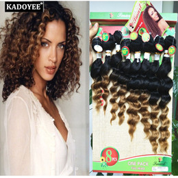 human hair pack Australia - Brazilian virgin hair 8pcs lot deep curly human Ombre Hair 8pcs per pack 8-14inch for full head natural color unprocessed hair wefts