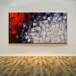 Wholesale Modern Abstract Painting Black Red - Framed Black White And Red,Pure Hand Painted Modern Huge Abstract Wall Decor Pop Art Oil Painting On High Quality Canvas.Multi sizes Ab019