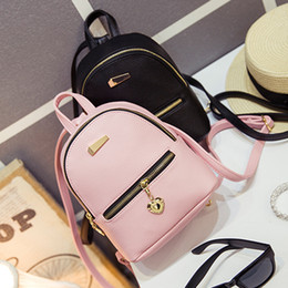 Wholesale Leather Backpack Purse New - Wholesale- LEFTSIDE 2016 new shoulder bag mini backpacks women leather school bag women's Casual style backpack purses bags for teenagers