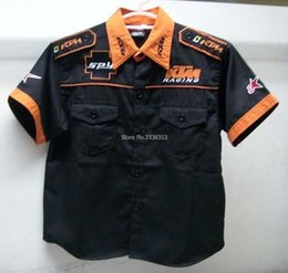 Wholesale Collared Racing Shirts - Wholesale- Wholesale high quality kid KTM embroidered shirts Classic Model Moto boy leisure clothes F1 race suit