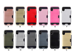 Wholesale Iphone Wire Drawing - Wire drawing card PC+TPU Mobile Phone Case Cover For iphone X iphone 8 6 6S 7 7 Plus Card Armor phone case