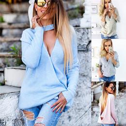 suéteres espalda abierta Rebajas otoño invierno mujeres suéter túnica jumpers llanos ambos lados usan tejido profundo V cuello abierto espalda sexy jersey DY171010