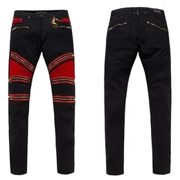 Wholesale Cheap Men Designer Jeans - Top Quality 2017 Hot Sale Robins Zipper Jeans Black Mens Straight Designer Cheap Denim Trousers with Wings American Flag Mens Skinny Jeans