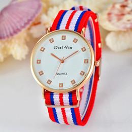 Wholesale Wholesale Mens Diamond Bracelets - 2017 unisex women mens fashion colorful nylon bands bracelet watch wholesale casual ladies dress diamond quartz wrist watches 6 colors