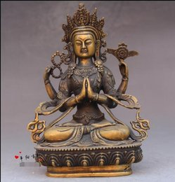 Wholesale Tibetan Bronze Buddha Statue - Antique copper Buddha statue antique Tibetan Buddhist Nepal Seiko old lotus four arm Guanyin statue ornaments