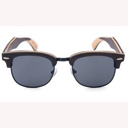 Espejo enmarcado de bambú online-2018 youny personas espejo lente yiwu gafas de sol de medio cuerpo premium impresión hecho a mano de madera natural bambú ojo Sun Shades