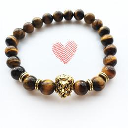 Wholesale Head Porcelain - Yoga Jewelry Men Bracelet Elastic Lion Head Charms Bracelets 8mm Turquoise Black Onyx Tiger Eye Natural Stone Lava beaded Bracelet