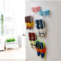 Wholesale Wall Mount Shoe Rack - 2017 Wall-Mounted Sticky Hanging Shoe Holder Hook Shelf Rack Organiser Accessories Storage Holder