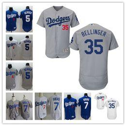 Wholesale Los Dodgers - 2017 Flex Base Mens Los Angeles Dodgers #35 Cody Bellinger #5 Corey Seager #21 Darvish #7 Urias white gray royal blue stitched Jerseys