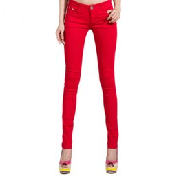 Wholesale Candy Colored Jeans - New Autumn Fashion Pencil Jeans Woman Candy Colored Mid Waist Full Length Zipper Slim Fit Skinny Women Pants