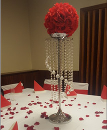 Wholesale Airlines Metal - Silver Metal Crystal Table Centerpiece Table Decoration wedding Road Lead Candle holder flower vase For Event&Hotel&Party&Home Decoration