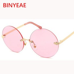 Wholesale Circle Shades Men - retro round sunglasses women brand designer 2017 new trend gold frame oversized shades transparent sun glasses gold circle ladies eyewear