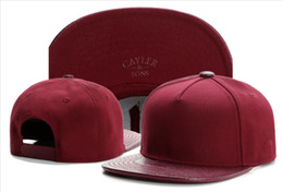 Wholesale Snapback Wine Red - Cayler & Sons snapback Blank in Wine red with leather brim ,men's skateboard adjustable basketball hats , cheap hiphop bboy flat bill caps