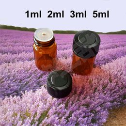 Wholesale Small Bottles 1ml - Mini Amber Glass Bottle 1ml 2ml 3ml 5ml Essential Oil Bottle Brwon Glass Vials With Plastic Lid Insert Small Test Bottle Sample Glass Vials