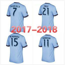 Wholesale American Football Jerseys Wholesale - 2017 2018 American Major League #21 PIRLO #7 DAVID VILLA home bule football uniform 17 18 Men soccer jersey