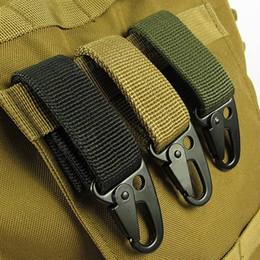 Wholesale Army Webbing Belt - Carabiner Hook Webbing Buckle Nylon Molle Belt Hanging Key Ring Outdoor Tool Black Khaki Army Green A283