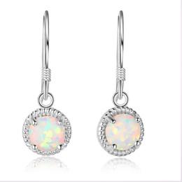 Wholesale Cheap Clip Earrings Women - 5pcs Sterling Silver Long Dangle Drop Hoop Earrings Simulated Opal Diamond Earrings Cheap Clip On Earrings For Women