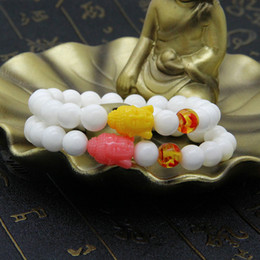 Wholesale Cheap Natural Stone Beads - Religious Jewelry Wholesale 10pcs lot 8mm Natural White Stone Beads Mix Colors Big Resin Buddha Beads Bracelets Cheap Jewelry