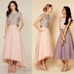 Wholesale Sweet 16 High Low Dresses - Sweet Organza Tea-Length A-Line Evening Dress Sequined Tank Prom Dresses Scoop Collar Two Pieces High Low Pink Party Gowns