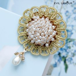Wholesale Diy Lace Brooch - NEW Vintage Crystal Lace Flower Brooches Pin for Woman Initial Design DIY Collar Clip Fashion Party Costume Accessories BR-59