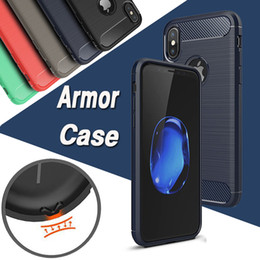 Wholesale Iphone Case Slim Armor - Carbon Fiber Case Rugged Armor Hybrid Shockproof Slim Soft TPU Brushed Back Hard Cover For iPhone X 8 7 Plus 6 6S 5S 5 Samsung Note 8 5 S8