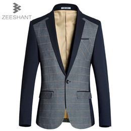 Wholesale Male Suite - Wholesale- Men's Suits Tailor Suit Blazer Suits Men Blazer Jacket Single Button Gray Mens Suit Jacket 2017 Autumn Patchwork Coat Male Suite