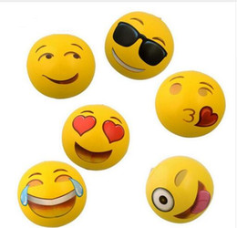 "Wholesale Outdoor Recreation - Emoji Beach Ball For Adults Kids Inflatable PVC 8"" Family Holiday Summer Party Favors Swimming Pool Toys DHL Free Shipping"