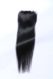 Wholesale Vietnamese Silk - Brazilian Malaysian Indian Peruvian Vietnamese Mongolian Hair 3.5*4Top Lace Closure 8-20inch Silk Straight Natural Color Human Hair Closure