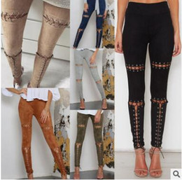 Wholesale Punk Rock Pants Trousers - 2017 Ladies High Waist Skinny Womens Rock Faux Suede Leather Side Lace Up Punk Bandage Clubwear Pants Leggings Pencil Trousers 375