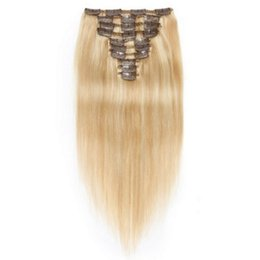 indian hair 27 613 Promo Codes - 120g Highlight Full Head Remy Clip In Human Hair Extensions 27 613 Straight Brazilian Virgin Hair Extensions 10pcs set