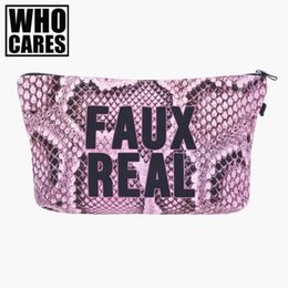 Wholesale Bag Croco - Wholesale- Faux real croco pink Cosmetic Bags 3D Printing Travel Makeup bag Small bags Gift trousse de maquillage make up bag pencil case