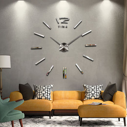 Wholesale Room Decoration Clock - Wholesale-2016 hot sale mute circular Acrylic wall clock watch living room quartz home decoration clocks diy modern flowers free shipping