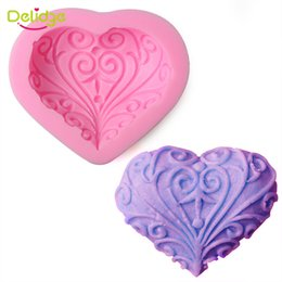 Wholesale Hearts Soap Mold - 1PC Love Heart Shape Silicone Fondant Mold 3D Chocolate Cake Soap Candy Moulds DIY Kitchen Baking Tools