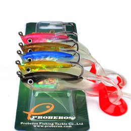 """Wholesale Soft Fish Lures Fishing - 5PC JIG Hook Soft Bait 5 Color Fishing Lure 10cm-3.9"""" Fishing Bait 14.7g-0.52oz Fishing Tackle Package Lead Fish DW6036"""