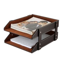 Wholesale Double Layer Tray - Double-Layer PU Leather File Document Tray Shelf Storage Box Desk Organizer Home Office Supplies Free Shipping ZA4638